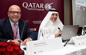Chief Executive Officer of Qatar Airways, His Excellency Mr. Akbar Al Baker (right), and the airline Chief Commercial Officer, Marwan Koleilat