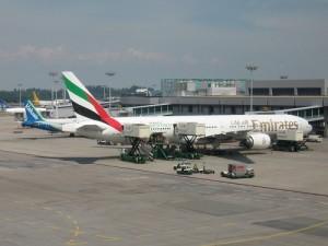 Emirates plane at Singapore Changi Airport