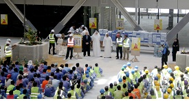 Construction workers taking lessons on Heat Safety Awareness