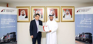 Faris Saif Al Mazrouei, Acting CEO of Etihad Rail received the ISO 9001 certificate