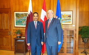 Fahad Mohammed Yusuf Kafoud, Qatar's Ambassador to Canada and Dave Hancock, Prime Minister of the Canadian Province of  Alberta