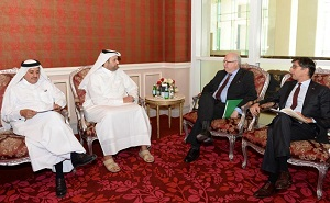 Sheikh Ahmed bin Jassim bin Mohammed Al Thani, Minister of Economy and Trade with New Zealand's Ambassador