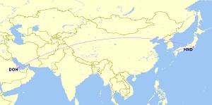 Qatar Airways, Tokyo Haneda route.