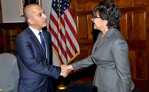 Ali Shareef Al Emadi, the Minister of Finance  with  Penny Pritzker, US Secretary of Commerce