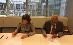 Abdul Aziz Al Noaimi, Civil Aviation Authority Chairman and Nathalie Dejace, Deputy Director-General of Belgium Civil Aviation
