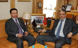 Aziz Rabbah , Moroccan Minister of Transport and Abdullah bin Falah Al-Dossari, Qatar's Ambassador to the Kingdom of Morocco