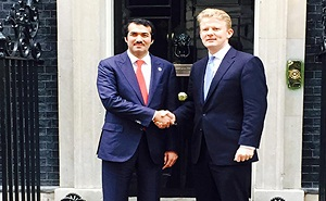 Ahmed bin Mohamed Al-Sayed, Chief Executive Officer of Qatar Investment Authority and  Christopher Hopkins, British Prime Minister David Cameron's Business Relations Adviser