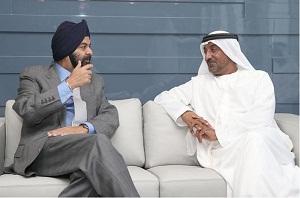 Sheikh Ahmed bin Saeed Al Maktoum, Chairman of the Dubai Civil Aviation Authority and Ajay Banga, President and Chief Executive Officer of MasterCard International Inc