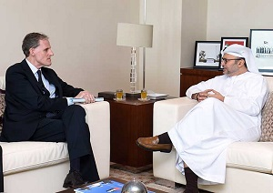 Dr. Anwar bin Mohammed Gargash, Minister of State for Foreign Affairs and Christian Masset, Permanent Secretary of the French Foreign Ministry