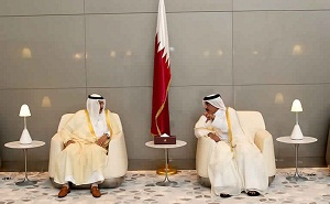 Jassim bin Saif Al Sulaiti, Minister of Transport and Jabara bin Eid Al Suraiseri, Saudi Minister of Transpor