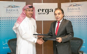 Ahmad Abdulla Al Abdulla, Barwa Real Estate Group acting CEO, and Elie Chebly, Erga Qatar chief international projects officer and partner architect,