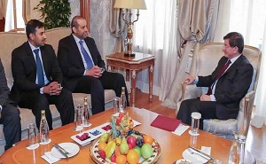 Minister Ahmet Davutoglu , Turkish Prime Minister Ahmet Davutoglu with Sheikh Ahmed bin Jassim bin Mohamed Al-Thani,  Minister of Economy and Commerce