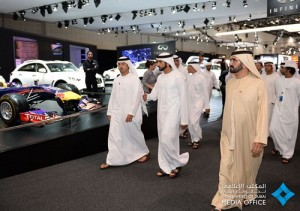 Mohammed bin Rashid while visiting Dubai International Motor Show 2015